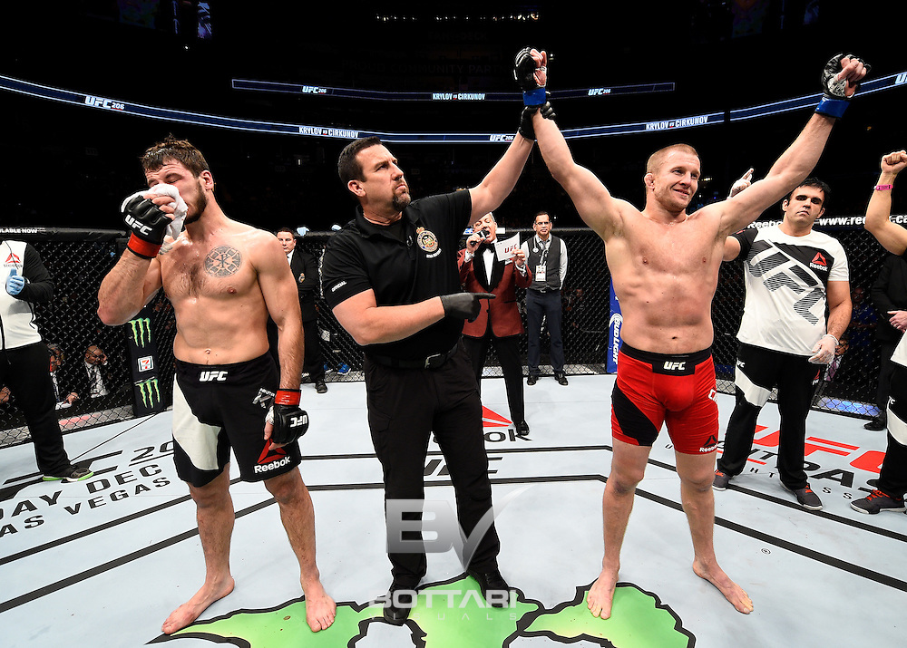 TORONTO, CANADA - DECEMBER 10:  Misha Cirkunov of Latvia celebrates after his submission victory over Nikita Krylov in their light heavyweight bout during the UFC 206 event inside the Air Canada Centre on December 10, 2016 in Toronto, Ontario, Canada. (Photo by Jeff Bottari/Zuffa LLC/Zuffa LLC via Getty Images)