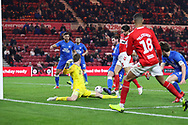 Middlesbrough defender George Friend (3) turns the ball into the net from an Middlesbrough forward Ashley Fletcher (18) cross for Middlesbrough's second goal during The FA Cup 3rd round match between Middlesbrough and Peterborough United at the Riverside Stadium, Middlesbrough, England on 5 January 2019.