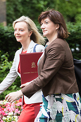 Downing Street,  London, June 27th 2015. Environment Food and Rural Affairs Secretary Elizabeth Truss (left) and Education Secretary Nicky Morgan arrive for the first post-Brexit cabinet meeting at 10 Downing Street.