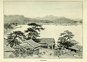 Nagasaki cityscape from the book ' Rambles in Japan : the land of the rising sun ' by Tristram, H. B. (Henry Baker), 1822-1906. Publication date 1895. Publisher New York : Revell