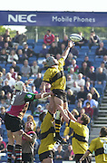 Peter Spurrier Sports  Photo. .Tel 44 (0) 7973 819 551.Photo Peter Spurrier.Quins v Wasps 22-9-01.Joe Beardshaw, collecting the line out ball....[Mandatory Credit, Peter Spurrier/ Intersport Images][Mandatory Credit, Peter Spurrier/ Intersport Images]