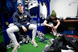 Klemen Pretnar and Mitja Sivic at first practice of Slovenian National Ice hockey team before World championship of Division I - group B in Ljubljana, on April 5, 2010, in Hala Tivoli, Ljubljana, Slovenia.  (Photo by Vid Ponikvar / Sportida)