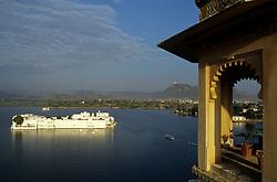 India, Rajasthan, Udaipur. Lake Palace Hotel, summer palace for city's rulers on Pichola Lake (built 1746)