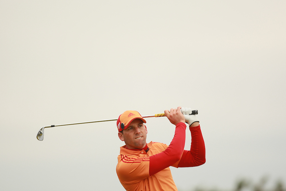 CARNOUSTIE, SCOTLAND - JULY 21: Sergio Garcia  follows through on a tee shot during the third round of the 136th Open Championship in Carnoustie, Scotland at Carnoustie Golf Links on Saturday, July 21, 2007. (Photo by Darren Carroll/Getty Images) *** LOCAL CAPTION *** Sergio Garcia