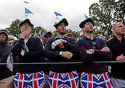 European fans react as their team misses a putt during the Ryder Cup at Medinah Country Club on Friday, Sept. 28, 2012.