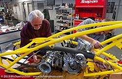 Arlen Ness in his shop working on the Top Banana Biker Build-Off bike with his longtime mechanic Jeff Border. Dublin, CA. 2004. Photograph ©2004 Michael Lichter