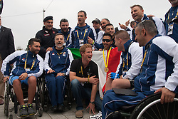 Lee Valley Athletic Centre, London, September 11th 2014. Prince Harry poses with members of the Italian team at the Invictus Games  track and field competition.