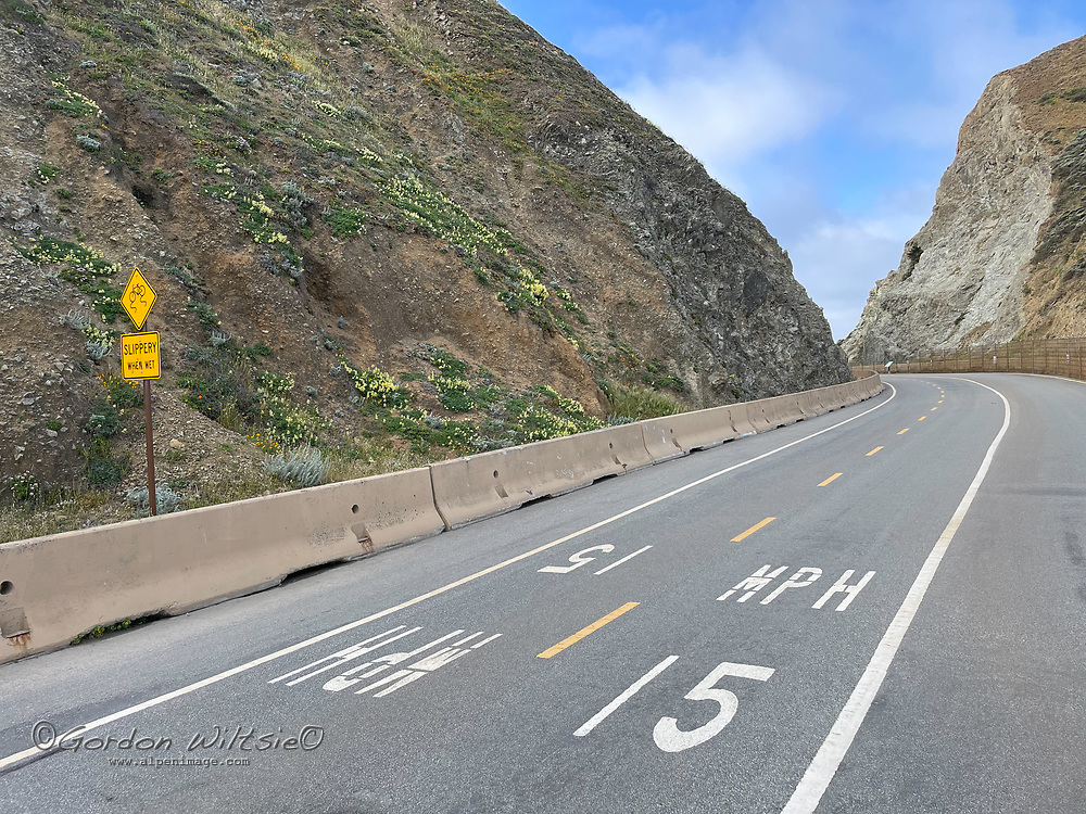 An abandoned section of California Highway 1 winds through The Devils Slide south of San Francisco.