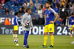 May 15, 2019 - Foxborough, MA, U.S. - FOXBOROUGH, MA - MAY 15: Chelsea FC assistant coach Gianfranco Zola speaks with Chelsea FC forward Olivier Giroud (18) before the Final Whistle on Hate match between the New England Revolution and Chelsea Football Club on May 15, 2019, at Gillette Stadium in Foxborough, Massachusetts. (Photo by Fred Kfoury III/Icon Sportswire) (Credit Image: © Fred Kfoury Iii/Icon SMI via ZUMA Press)