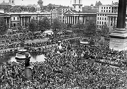 File photo dated 08/05/45 of huge crowds at Trafalgar Square celebrate VE (Victory in Europe) Day in London, marking the end of the Second World War in Europe. A teenage Princess Elizabeth danced in jubilation on VE Day after slipping into the crowds unnoticed outside Buckingham Palace.