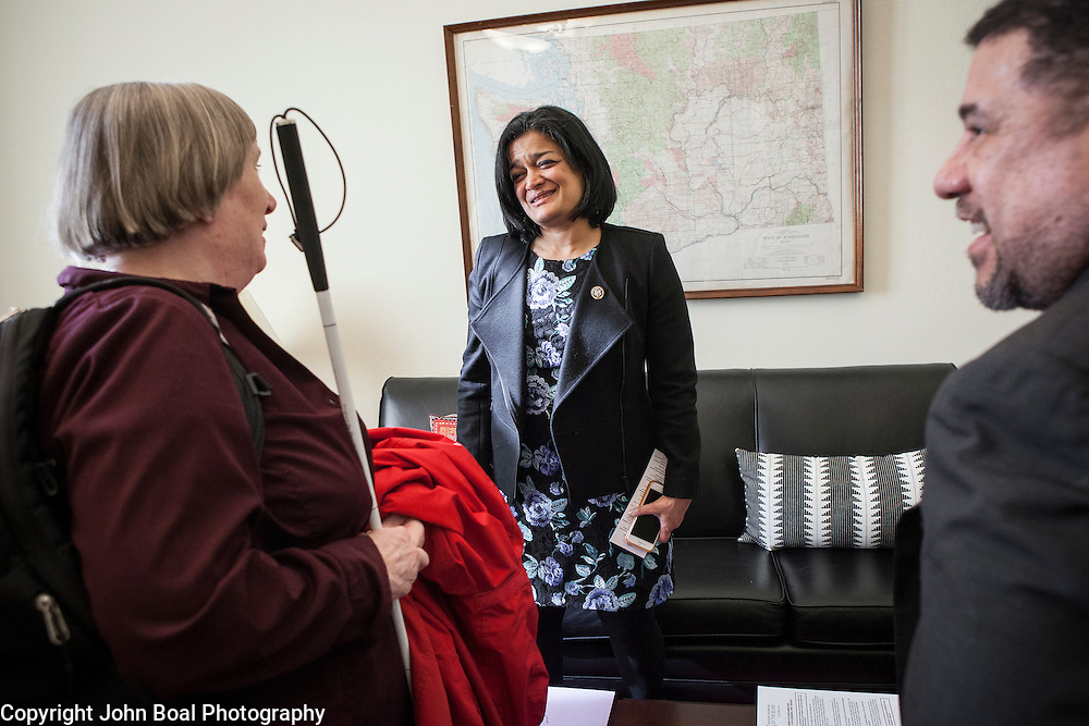 Representative Pramila Jayapal (D-WA, 7) thanks -- and -- of the National Federation of the Blind, after a meeting in her congressional office, on Tuesday, January 31, 2017.  John Boal photo/for The Stranger
