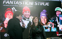 Tomaz Hudomalj and Barbara Kuerner Cad during reception of Slovenian Winter sports Athletes after success at World Championships, on March 19, 2012 in Kongresni trg, Ljubljana, Slovenia. (Photo by Vid Ponikvar / Sportida.com)