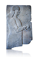 Stone relief sculptured panel of a Royal servant. From the palace of Teglat-phalasar II, Nimrud, third quarter of the 8th century BC. inv 19852  Louvre Museum , Paris .<br /> <br /> If you prefer to buy from our ALAMY PHOTO LIBRARY  Collection visit : https://www.alamy.com/portfolio/paul-williams-funkystock/ancient-assyria-antiquities.html  Refine search by adding background colour, place, subject, museum etc into the LOWER SEARCH WITHIN GALLERY box to <br /> <br /> Visit our ANCIENT ASSYRIAN PHOTO COLLECTIONS for more photos to download or buy as wall art prints https://funkystock.photoshelter.com/gallery-collection/Ancient-Assyrian-Art-Artefacts-Antiquities-Historic-Sites-Pictures-Images-of/C0000cjRqQyJjLag