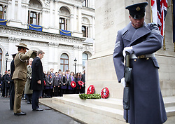 Wreaths are laid during the Western Front Association's annual service of remembrance at the Cenotaph, Whitehall, London.