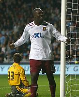 Photo: Steve Bond.<br />Coventry City v West Ham United. Carling Cup. 30/10/2007. Carlton Cole celebrates West Hams equaliser