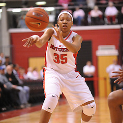 Feb 10, 2009; Piscataway, NJ, USA; Rutgers guard Brittany Ray (35) passes to guard Epiphanny Prince (not pictured) during the first half of Rutgers game against #19 Pittsburgh in Women's College Basketball at the Louis Brown Athletic Center.