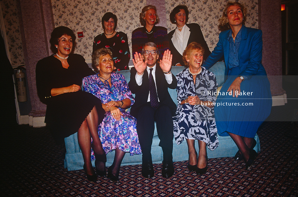 British Prime Minister, John Major with women ministers at the Conservative party conference on 11th October 1991 in Blackpool, England.