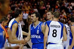 06-09-2006 BASKETBAL: NEDERLAND - SLOWAKIJE: GRONINGEN<br /> De basketballers hebben ook de tweede wedstrijd in de kwalificatiereeks voor het Europees kampioenschap in winst omgezet. In Groningen werd een overwinning geboekt op Slowakije: 71-63 / Daniel Novak en Kees Akerboom<br /> ©2006-WWW.FOTOHOOGENDOORN.NL