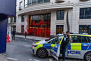 """Police arrive at the scene outside """"one Curzon"""" building following the action of Palestine Action activists that painted it in the red colour in London on Wednesday, June 9, 2021. (Photo by Marcin Nowak/VXP)"""
