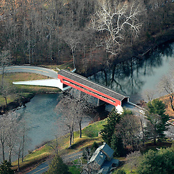 Aerial view of Covered Bridge in Chadds Ford