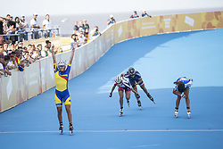 BUENOS AIRES, Oct. 9, 2018  Gabriela Isabel Rueda Rueda (L) of Colombia celebrates victory after the women's combined 500m sprint final of the roller speed skating event at the 2018 Summer Youth Olympic Games in Buenos Aires, Argentina, on Oct. 8, 2018. (Credit Image: © Li Ming/Xinhua via ZUMA Wire)