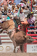 A bull rider is tossed off during Bull Riding competition at the Cheyenne Frontier Days rodeo at Frontier Park Arena July 23, 2015 in Cheyenne, Wyoming. Frontier Days celebrates the cowboy traditions of the west with a rodeo, parade and fair.