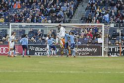 March 11, 2018 - New York, New York, United States - Daniel Steres (5) of LA Galaxy kicks ball during regular MLS game against NYC FC at Yankee stadium NYC FC won 2 - 1 (Credit Image: © Lev Radin/Pacific Press via ZUMA Wire)
