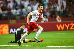 June 10, 2019 - Warsaw, Poland - Damian Kadzior of Poland celebrates after scoring a goal during the UEFA Euro 2020 qualifier Group G football match Poland against Israel on June 10, 2019 in Warsaw, Poland. (Credit Image: © Foto Olimpik/NurPhoto via ZUMA Press)
