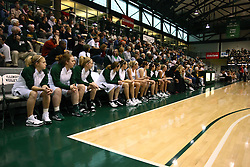 10 January 2009: The Titan bench. The Illinois Wesleyan Titans, ranked #1 in the latest USA Today/ESPN poll, take down the Lady Reds of Carthage and remain undefeated,  2-0 in the CCIW and over all to 12-0. This is the first time in the history of the Lady Titans Basketball they have been ranked #1 The Titans and Lady Reds played in the Shirk Center on the Illinois Wesleyan Campus in Bloomington Illinois.