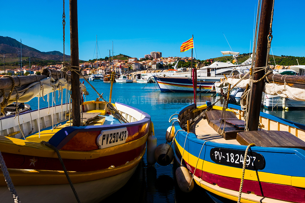 Traditional Catalan wooden fishing boats in the harbour in Banyuls Sur Mer,  Cote Vermeille, Pyrenees Orientale, France.