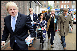 London Mayor Boris Johnson with his family L to R, Boris ,Brother Jo, His wife Marina, his Father Stanley, Leo (brother) , campaigning in Orpington, on  The Mayoral Election Day, Thursday May 3, 2012. Photo By Andrew Parsons/i-Images