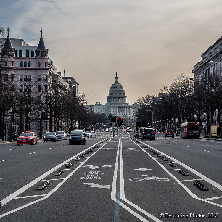 Washington, DC, USA — February 3, 2020. A photo looking down Pennsylvania Avenue toward the Capitol Building on a winter morning.