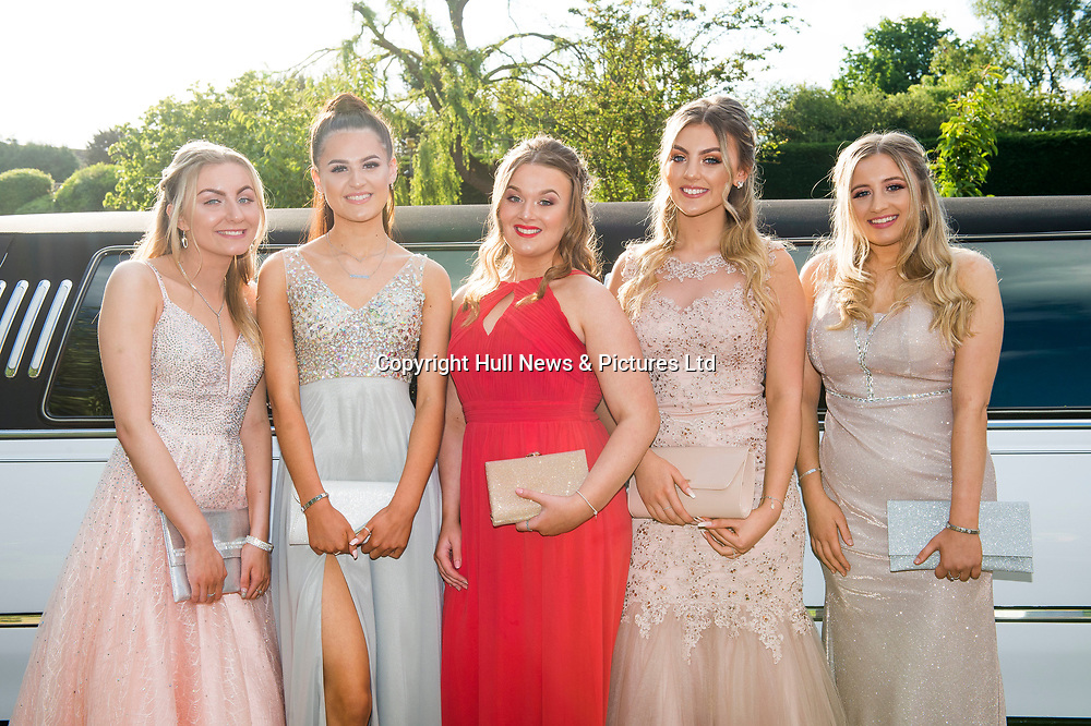 20 June 2019: Cleethorpes Academy Year 11 Prom at Brackenborough Hotel near Louth.<br /> (l-r) Amelia Smith, Mia Bellamy, Jasmin Thompson, Courtney Staples and Millie Beckett. <br /> Picture: Sean Spencer/Hull News & Pictures Ltd<br /> 01482 210267/07976 433960<br /> www.hullnews.co.uk         sean@hullnews.co.uk