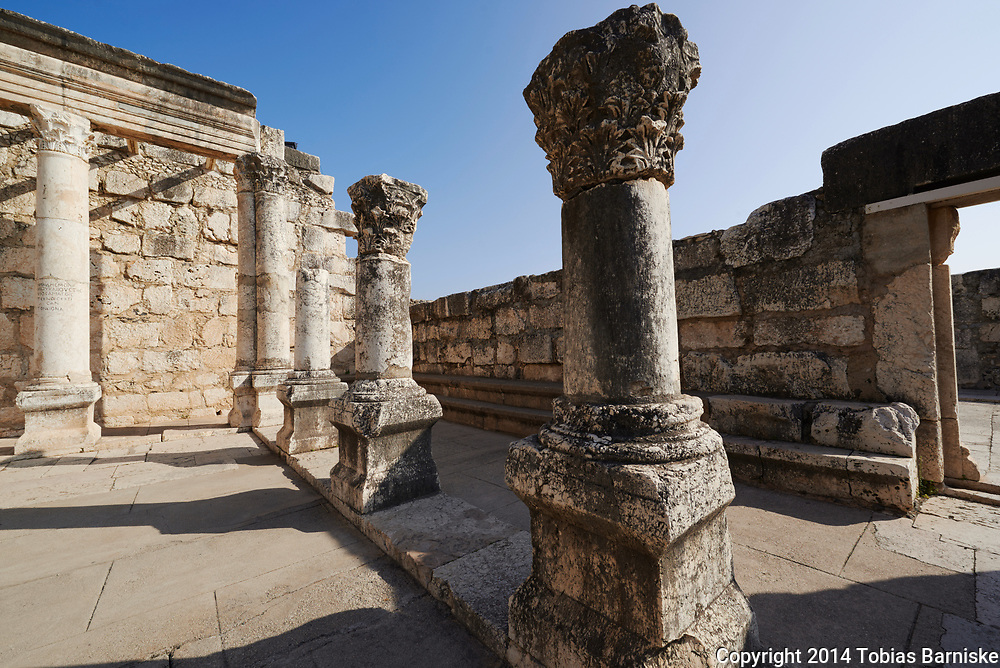 Ruins of the synagogue of the ancient Capernaum. The synagogue was built in the 4th century CE of white blocks of calcareous stone and is recognized as one of the oldest synagogues in the world.