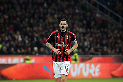 March 2, 2019 - Milan, Milan, Italy - Alessio Romagnoli #13 of AC Milan during the serie A match between AC Milan and US Sassuolo at Stadio Giuseppe Meazza on March 02, 2019 in Milan, Italy. (Credit Image: © Giuseppe Cottini/NurPhoto via ZUMA Press)