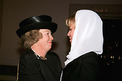 Queen Noor of Jordan receives Queen Beatrix of Netherlands during King Hussein's funeral at the Royal palace in Amman, Jordan on February 8, 1999. Twenty years ago, end of January and early February 1999, the Kingdom of Jordan witnessed a change of power as the late King Hussein came back from the United States of America to change his Crown Prince, only two weeks before he passed away. Photo by Balkis Press/ABACAPRESS.COM
