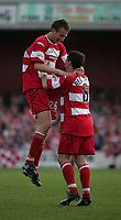 Photo. Andrew Unwin<br /> Doncaster Rovers v York, Nationwide League Division Three, Earth Stadium, Belle Vue, Doncaster 24/04/2004.<br /> Doncaster's Chris Brown (l) celebrates scoring his second goal, and his team's third, against York.