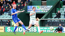 Yeovil Town's Sam Foley scores his sides goal - Photo mandatory by-line: Harry Trump/JMP - Mobile: 07966 386802 - 03/04/15 - SPORT - FOOTBALL - Sky Bet League One - Yeovil Town v Chesterfield - Huish Park, Yeovil, England.