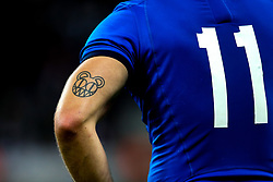 Tattoo on the arm of Edoardo Padovani of Italy - Mandatory by-line: Robbie Stephenson/JMP - 06/09/2019 - RUGBY - St James's Park - Newcastle, England - England v Italy - Quilter Internationals