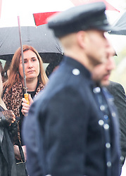 ©Licensed to London News Pictures 30/01/2020<br /> Orpington, UK. Mr Knott's fiancee Lucy Otto. The Funeral of thirty three year old father-of-four and firefighter Anthony Knott at Saint Giles the Abbot Church, Orpington, Kent.  His body was found in the water at Denton Island, Sussex three weeks after he went missing on a night out in Lewes, East Sussex in December 2019. Photo credit: Grant Falvey/LNP