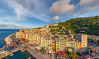 Aerial view of colorful houses at Porto Venere, Italy