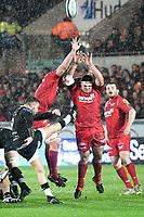 Rugby Union - 2017 / 2018 Guinness Pro14 - Scarlets vs. Ospreys<br /> <br /> Rhys Webb of Ospreys kicks to clear, at Parc y Scarlets.<br /> <br /> COLORSPORT/WINSTON BYNORTH