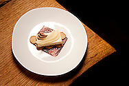 23 NOV. 2015 -- CLAYTON, Mo. -- Maple sugar short bread, with Cajeta cheese cake, poached pears and fig jam, is among the menu favorites prepared by Sarah Osborn, pastry chef at Niche, Gerad Craft's James Beard Award-winning restaurant in Clayton. Photographed Monday, Nov. 23, 2015. Photo © copyright 2015 Sid Hastings.