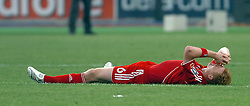 Athens, Greece - Wednesday, May 23, 2007: Liverpool's John Arne Riise looks dejected after losing 2-1 to AC Milan during the UEFA Champions League Final at the OACA Spyro Louis Olympic Stadium.  (Pic by Jason Roberts/Propaganda)
