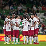 DUBLIN, IRELAND:  October 12:   The Qatar team in huddle before kick off during the Republic of Ireland V Qatar International friendly match at Aviva Stadium on October 12th, 2021 in Dublin, Ireland. (Photo by Tim Clayton/Corbis via Getty Images)