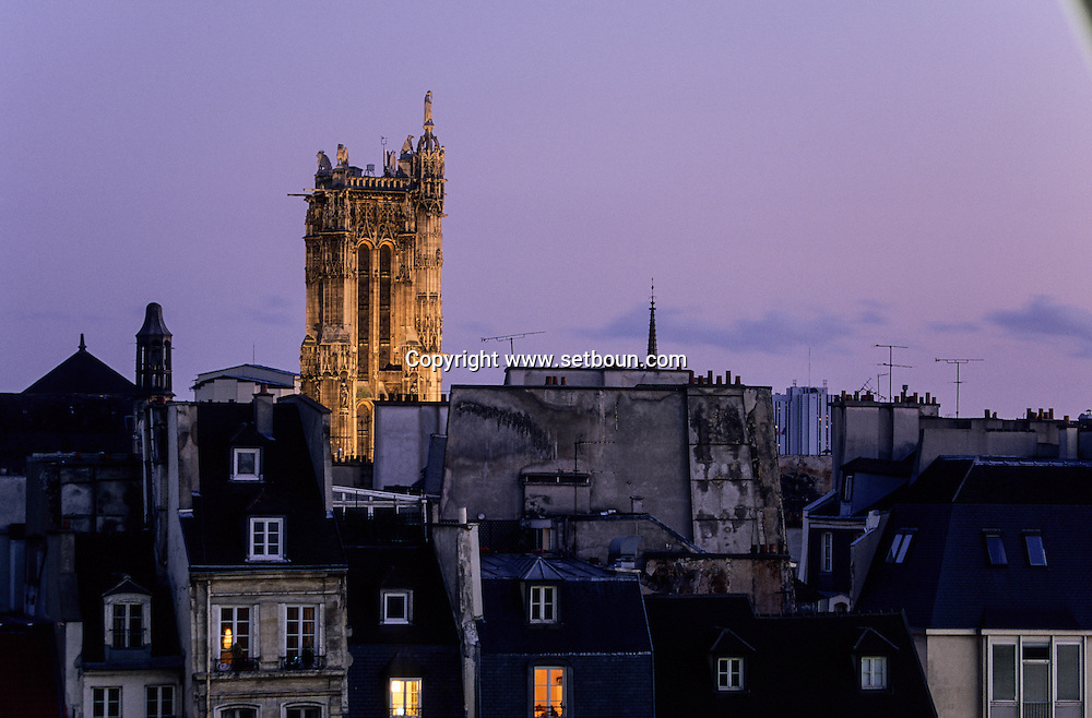France. Paris elevated view on Paris cityscape , Saint Jacques tower and historical center, at dusk ,