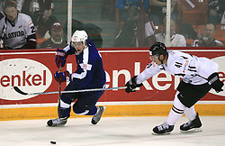 Anze Kopitar of Slovenia vs Raitis Ivanans (41) at ice-hockey match Slovenia vs Latvia at Preliminary Round (group B) of IIHF WC 2008 in Halifax, on May 06, 2008 in Metro Center, Halifax, Nova Scotia, Canada. Latvia won 3:0. (Photo by Vid Ponikvar / Sportal Images)Slovenia played in old replika jerseys from the year 1966, when Yugoslavia hosted the World Championship in Ljubljana.