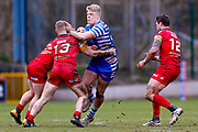 Halifax RLFC interchange Dan Fleming (29) on a run during the Betfred Championship match between Halifax RLFC and London Broncos at the MBi Shay Stadium, Halifax, United Kingdom on 8 April 2018. Picture by Simon Davies.