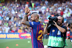 August 15, 2018 - Barcelona, Spain - Arturo Vidal during the presentation of the team 2018-19 before the match between FC Barcelona and C.A. Boca Juniors, corresponding to the Joan Gamper trophy, played at the Camp Nou, on 15th August, 2018, in Barcelona, Spain. (Credit Image: © Joan Valls/NurPhoto via ZUMA Press)