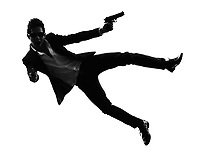 one asian gunman killer jumping shooting in silhouette isolated white background